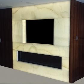 Backlit Custom Entertainment Center/Fireplace